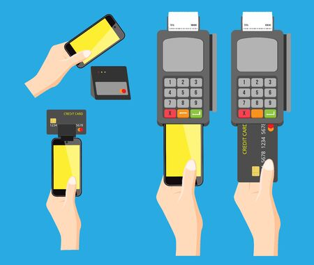 pay: mobile pay and credit card, 4 versions
