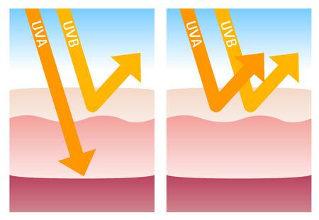 UV-A y UV-B protección Ilustración de vector