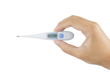 body temperature: Medical mercury thermometer. Medical mercury thermometer showing elevated body temperature. focus on thermometer isolated on white background