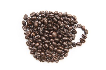 caffeinated: Coffee shape set on white background Stock Photo
