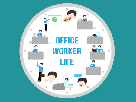 hard day at the office: office worker life , routine