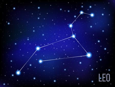 prognosis: Leo vector Zodiac sign bright stars in cosmos. blue and black background