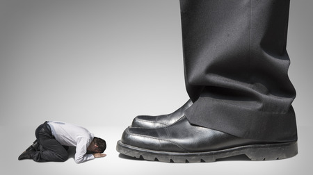 trample: abuse and bully business man , boss and subordinate Stock Photo
