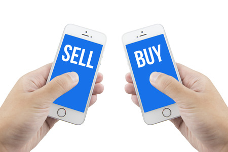 sell online: buy and sell online with isolated white background