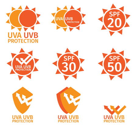 uva: UV LOGO , uva uvb and spf with orange color