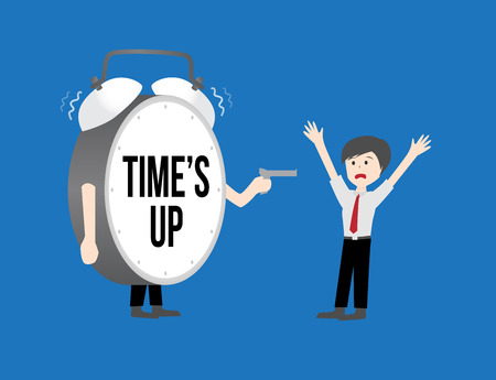 times up: Business workforce Concept. times up clock Illustration