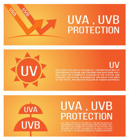 skin burns: uv, uva, uvb protection banner Illustration