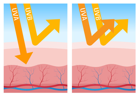 suntan lotion: uv-a and uv-b protection Illustration