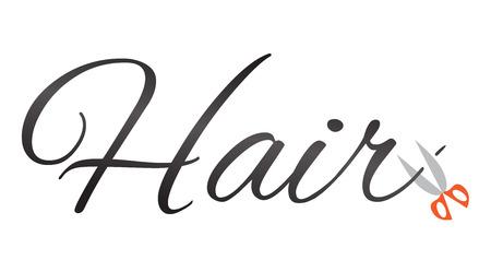 cutting hair: An illustration of scissors cutting Hair