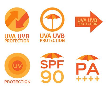 uva: uva, uvb, spf logo Illustration