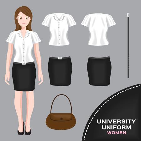 mini skirt: asian university uniform set , Thai set 2 Illustration
