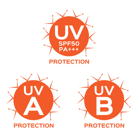 sheild: UV LOGO , uva uvb with orange color
