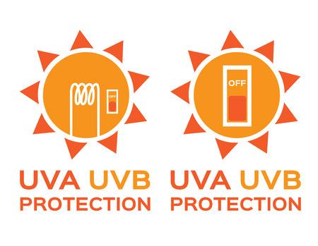 uv: UV LOGO , uva uvb with orange color