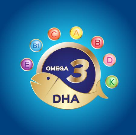 omega 3-logo en het pictogram, DHA en vitamine Stock Illustratie