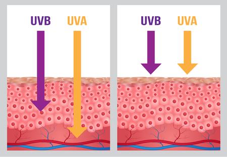 UV protection , uv a and uv b Illustration