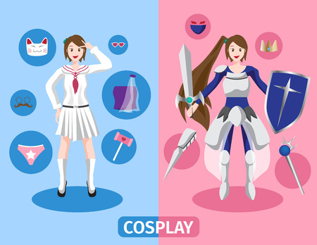 lolita: Japan anime cosplay vector , 2 cosplay set