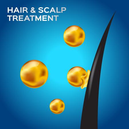 Haj és fejbőr kezelési vektor. Hajkondicionáló vektor Illusztráció