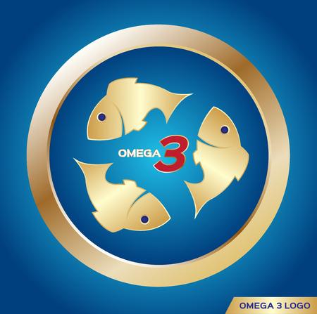 omega 3 icon  , vector . omega 3 and vitamin gold set