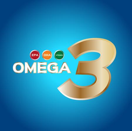 cod liver: omega 3 icon   , vector . omega 3 and vitamin gold set Illustration