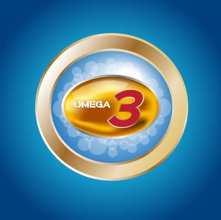 omega: omega 3 icon  , vector . omega 3 and vitamin gold set