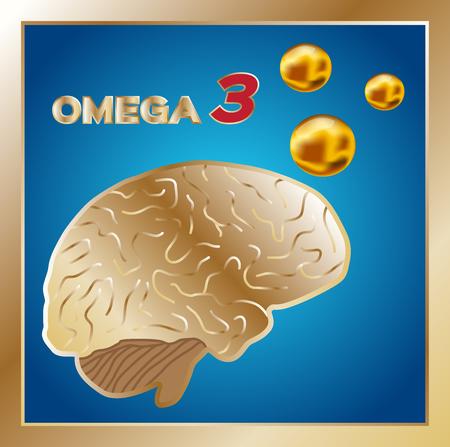 cod liver: omega 3 vector ,  icon , omega 3 for brain Illustration