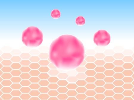 コラーゲンと皮膚のベクトル。ピンクのコラーゲン  イラスト・ベクター素材