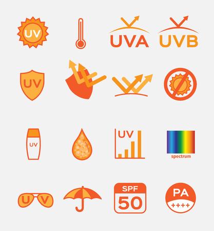 sheild: uv , uv a and uv b.  icon vector , set of 16 Illustration