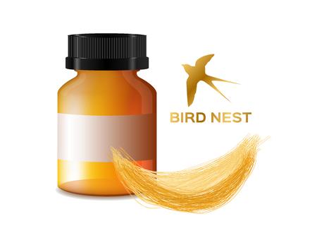 Madárfészek . az ősi élelmiszer és gyógyszer ázsiai vektor. sárga madár fészek és a palack Illusztráció