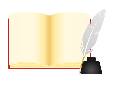 open notebook: Open notebook , notebook vector illustration with ink and pen