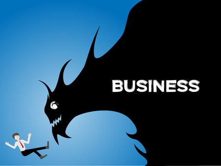 scare: businessman is scare of the business , business concept vector , business is monster in his mind Illustration