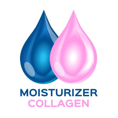 moisturizer: collagen and moisturizer icon and vector. double moisturizer collagen