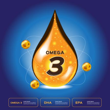 omega 3 drop. omega 3-pictogram en vector.