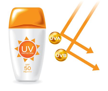 uv protection pack and uv a , uv b reflect san light vector