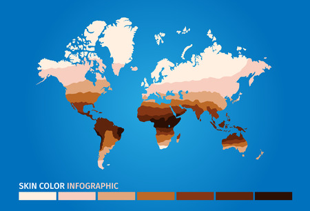 tone: skin world map color infographic . skin vector graphic