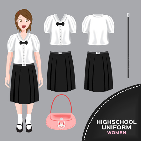 thai women: asian women university and high school uniform set , Thai uniform version 5 Illustration