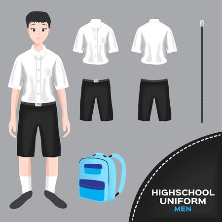 classmate: asian man university and high school uniform set , Thai uniform version 5