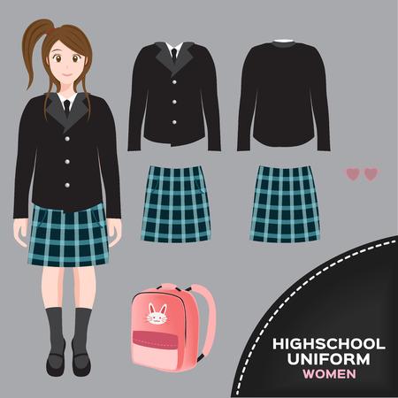 thai women: asian international women university and high school uniform set , Thai uniform version 5