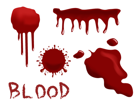 ink stain: red Ink stain, blots and splashes. Isolated Realistic paint drops, design elements.