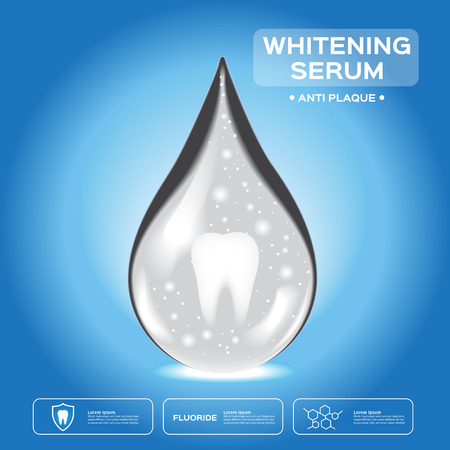 whitening: teeth whitening serum . healthy teeth is inside the white and gray drop icon Illustration