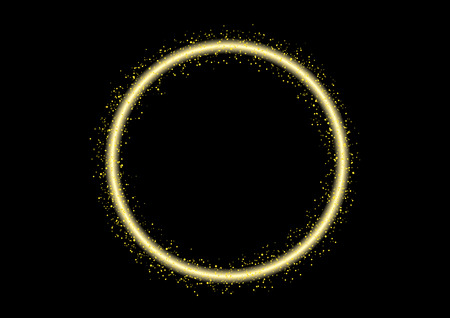 circle yellow glittering stars line sparkling particles. Space shinning glitter comet tail. Vector. laser , bokeh line
