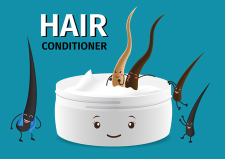 hair cartoon character in conditioner , cream foam mousse lotion , vector