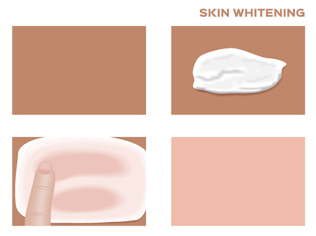 smoothness: step of how to apply cream , mousse or lotion on skin . skin vector Illustration
