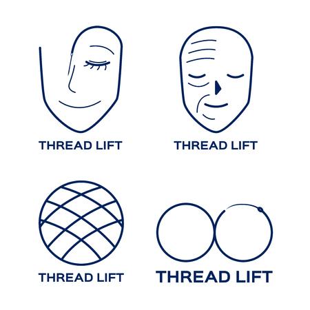 thread lifting logo , skin , icon,  vector Illustration