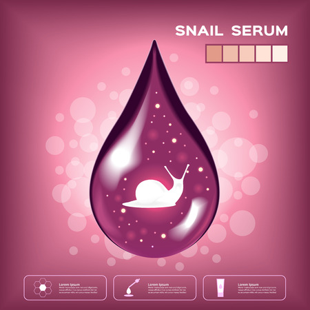 snail white cream mousse and lotion vector , white snail on skin