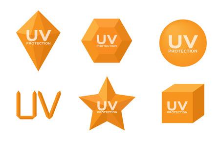 uv icon sets vector, 6 orange uv set