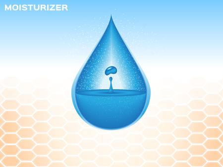 Feuchtigkeitscreme auf die Haut, blauer Tropfen Feuchtigkeitscreme Vektorgrafik