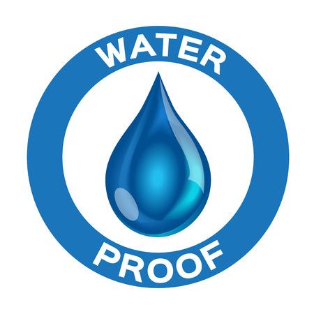 El agua y el vector icono de la prueba. versión a prueba de agua azul