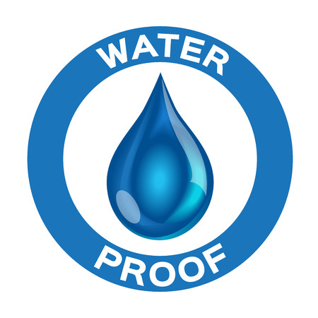 rainproof: Water proof icon and vector . blue Water proof version