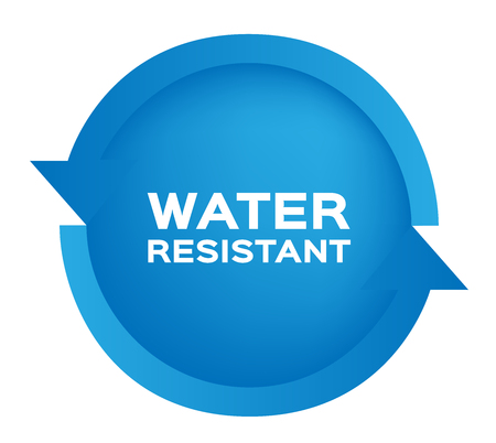 rainproof: Water resistant icon and vector . blue Water resistant version