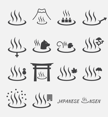 spring in japan: Set of Japanese hot spring marks ( onsen ). Illustration